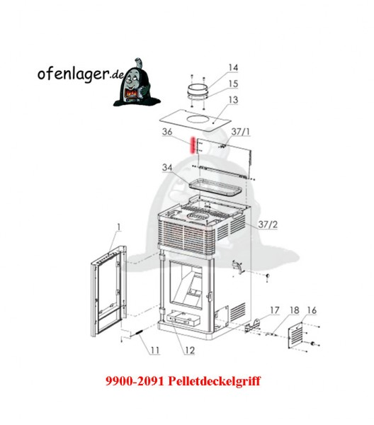 9900-2091 Pelletdeckelgriff / 1 Stück