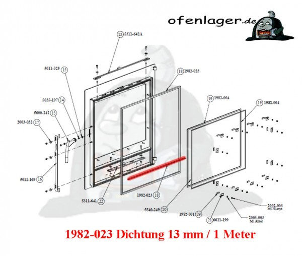 1982-023 Dichtung 13 mm / 1 Meter