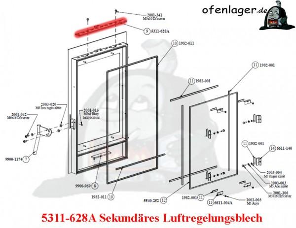 5311-628A Sekundär Luftregelungsblech