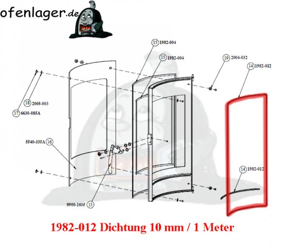 1982-012 Dichtung 10 mm / 1 Meter